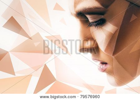 Woman With Bodyart On Face And Geometric Pattern