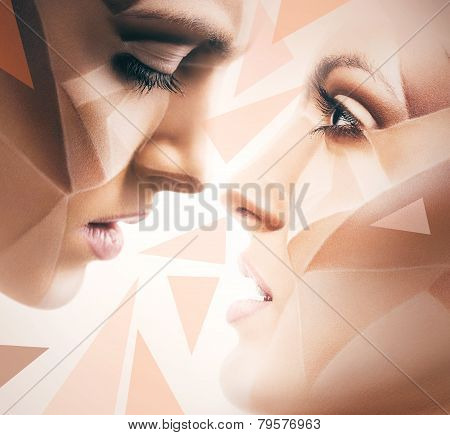 Women With Bodyart On Face And Geometric Pattern