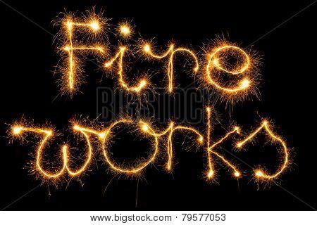 Sparking Fireworks word on black background
