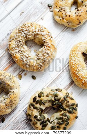 Homemade bagels with sesame, poppy, pumpkin and sunflower seeds