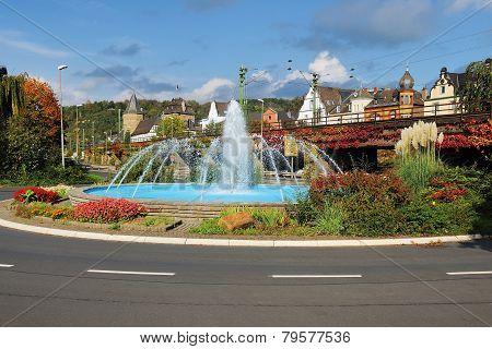 Linz Rhine With Fountain