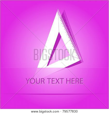 Triangle ruler. Paper sticker as bookmark. Vector illustration. Eps10.
