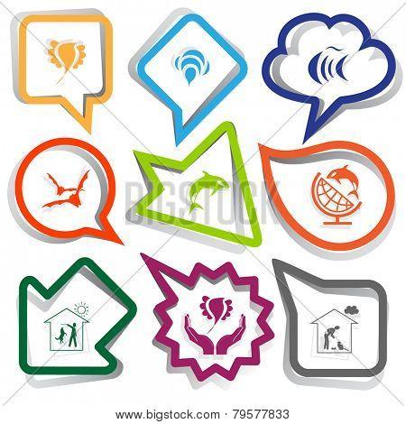 Animal set. Paper stickers. Vector illustration.