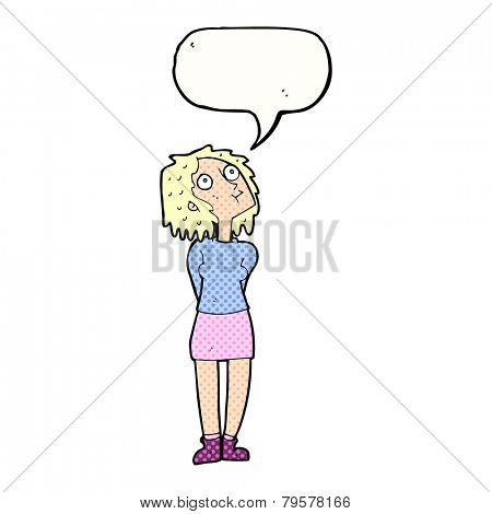 cartoon curious woman with speech bubble
