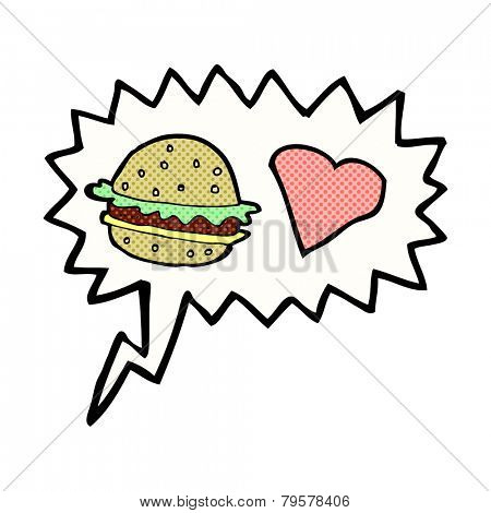 cartoon hamburger with speech bubble