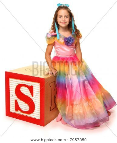 Alphabet Blocks Letter S With Beautiful Girl