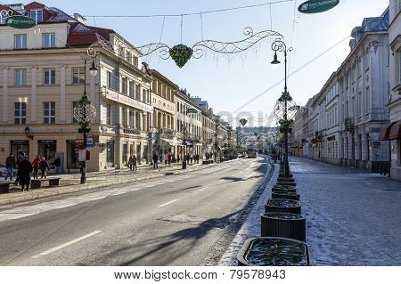 Nowy Swiat Street In Warsaw City Center