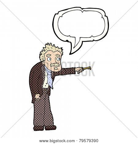 cartoon man trembling with key unlocking with speech bubble