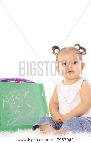 cute little baby with chalkboard