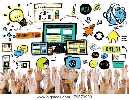 Diversity Hands Responsive Design Content Support Volunteer Concept