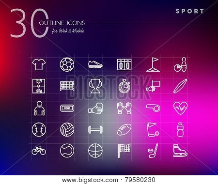 Sports Outline Icons Set