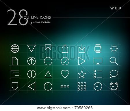 Global Web Outline Icons Set