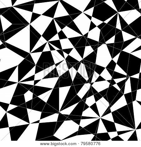 Abstract mosaic pattern with triangles. Seamless vector. Stylized texture with black and white lines