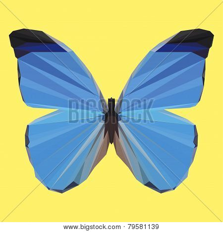 Polygonal Geometric Blue Butterfly on Yellow Background