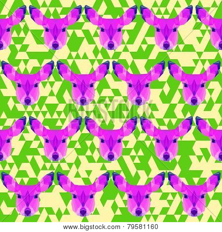 Abstract Geometric Polygonal Deer Seamless Pattern