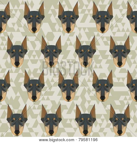 Doberman Polygonal Seamless Pattern