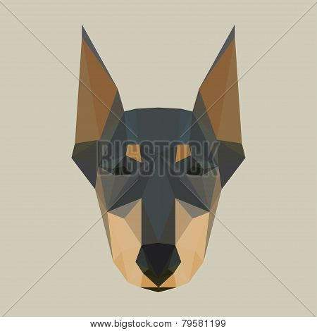 Abstract Geometric Doberman Polygonal Background