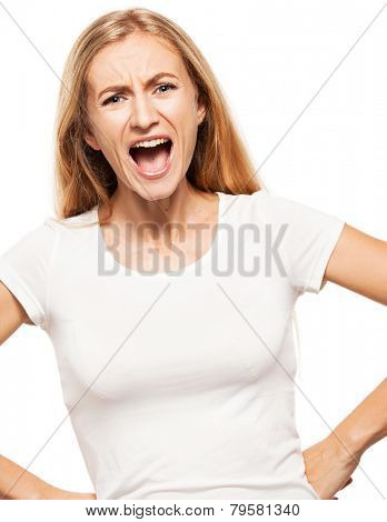 Screaming woman isolated on white bacjground. Emotional stress, problems, frustration.