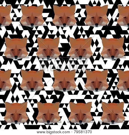 Polygonal Geometric Vector Fox Seamless Pattern Vector Background