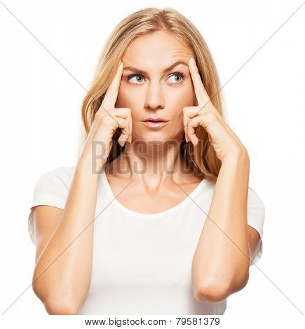Thinking woman  at white background.