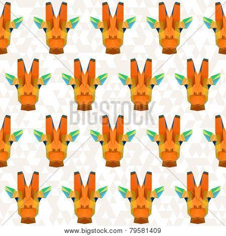 Bright Colored Abstract Geometric Polygonal Giraffe Seamless Pattern