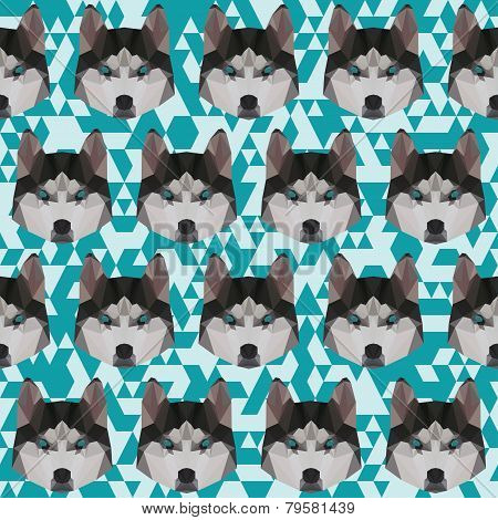 Polygonal Geometric Triangle Abstract Husky Seamless Pattern