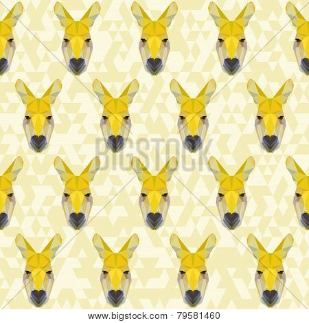 Yellow Colored Abstract Polygonal Kangaroo Pattern Background