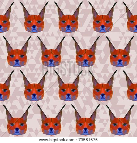 Abstract Geometric Polygonal Lynx Seamless Pattern