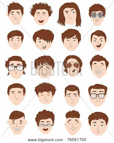 Stylish male people characters collection of various individuals portrait.