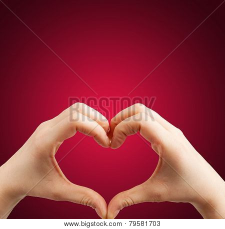 Heart hand red background