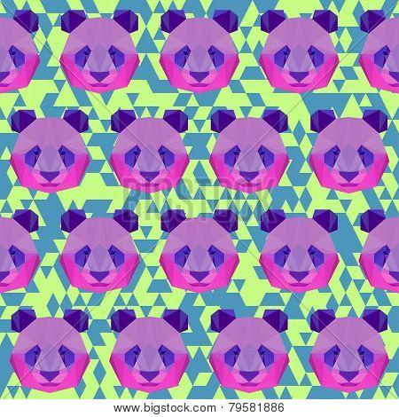 Bright Colored Polygonal Geometric Triangle Abstract Panda Seamless Pattern Background