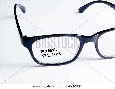 Risk Plan Words See Through Glasses Lens, Business Concept