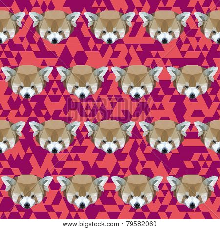 Abstract Geometric Polygonal Red Panda Seamless Pattern