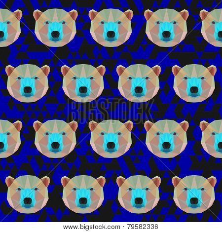 Polygonal Bright Colored Abstract Geometric White Bear Seamless Pattern