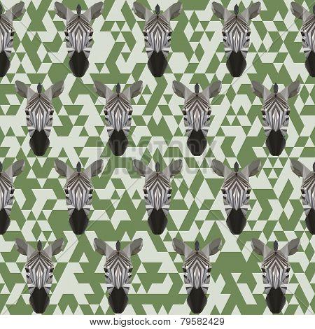 Abstract Geometric Polygonal Zebra Seamless Pattern