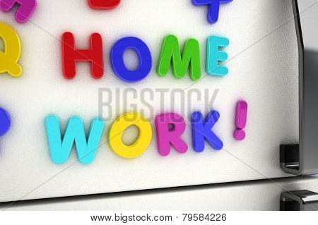 The word homework written on a refrigerator door with magnet letters