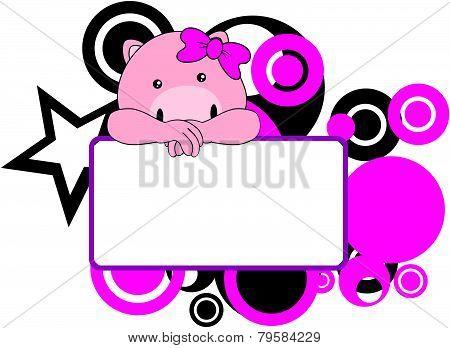sweet girl pig cartoon singboard