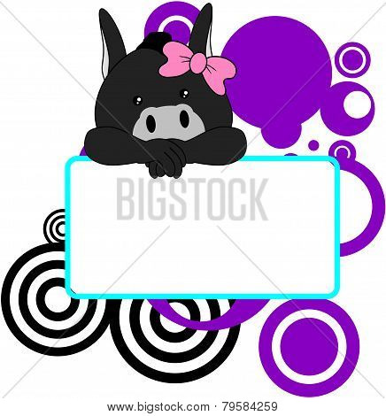sweet girl donkey cartoon singboard