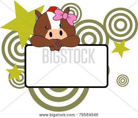 sweet girl horse cartoon singboard