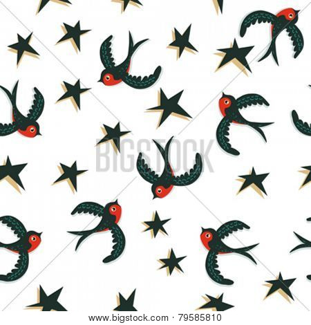 birds and stars seamless pattern on white