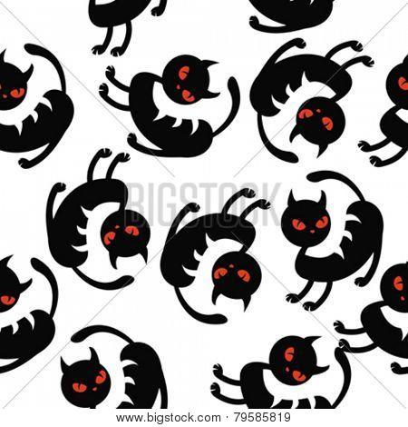 black cat seamless pattern on white