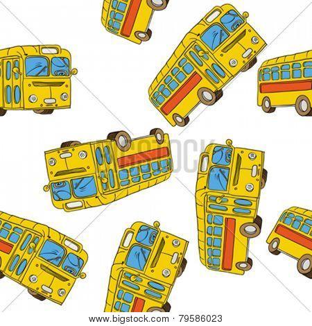 bus seamless pattern on white
