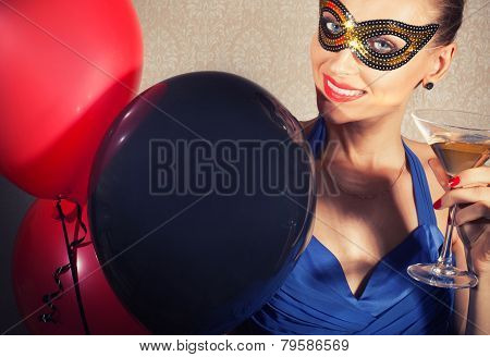 Smiling Happy Woman In Mask.