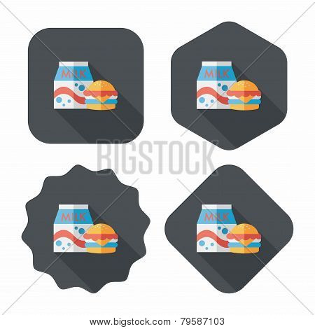 Hamburger And Milk Flat Icon With Long Shadow,eps10