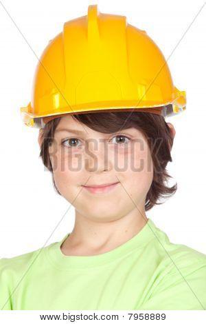 Beautiful Child With Yellow Helmet