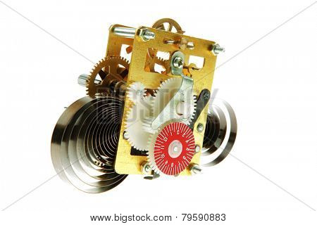 image of clock mechanism inside over white background