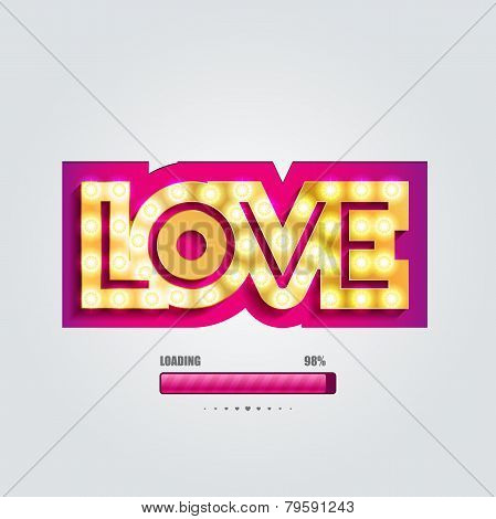 Vector paper curved convex inscription love
