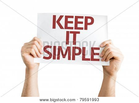 Keep It Simple card isolated on white background