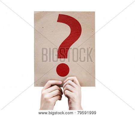 Question Mark Symbol card isolated on white background