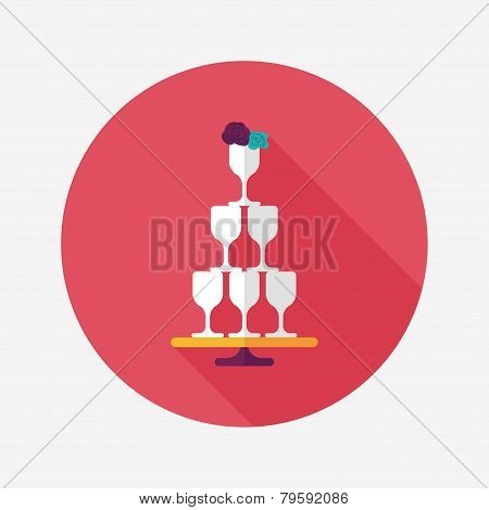 Wedding Champagne Cups Flat Icon With Long Shadow,eps10